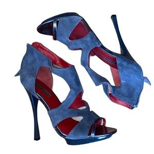 Charles Jourdan stilettos, suede gray and red